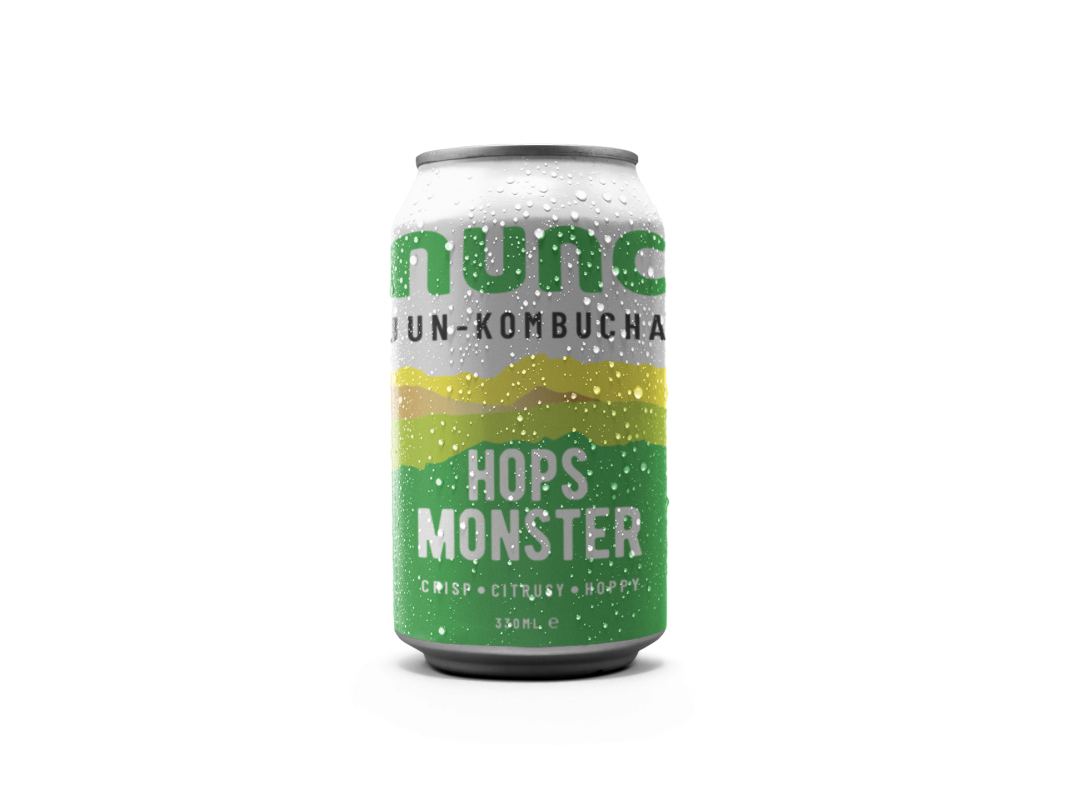 Hops Monster Nunc. Fermented with three types of Hops and premium botanicals